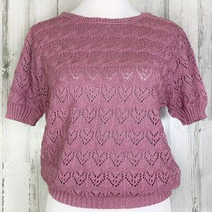 Vintage 70s Pink Blush Heart Knit Sweater Top